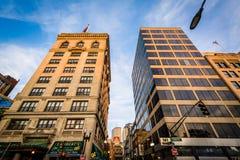 Buildings along Tremont Street, in Boston, Massachusetts. Stock Photography