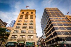 Buildings along Tremont Street, in Boston, Massachusetts. Royalty Free Stock Image