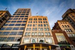 Buildings along Tremont Street, in Boston, Massachusetts. Stock Photos