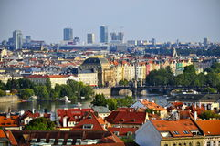 Buildings along the Vltava river, Prague Royalty Free Stock Photography