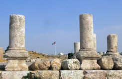 Buildings of Amman Citadel in national historic site Royalty Free Stock Image
