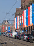 Buildings in Amsterdam have been decorated for inauguration Royalty Free Stock Image