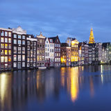 Buildings in Amsterdam by night Stock Photography