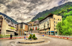 Buildings in Andorra la Vella. The capital of Andorra stock photo