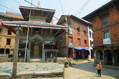 Buildings anfd temple in Bandipur, Nepal. BANDIPUR, NEPAL - APRIL 9 2016: beautiful buildings anfd temple in Bandipur village, Nepal Royalty Free Stock Photos