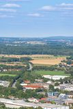 Buildings and arable fields. A city landscape in Germany. Buildings and arable fields royalty free stock photo