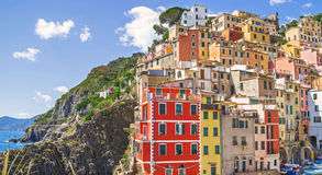 Buildings architecture in Cinque Terre  - Five lands ,at  Riomaggiore village Royalty Free Stock Photography