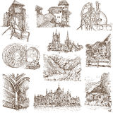 Buildings and architecture. Famous places, buildings and architecture around the World (set no.9, white) - Collection of an hand drawn illustrations. Description Royalty Free Stock Photo