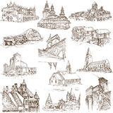 Buildings and architecture. Famous places, buildings and architecture around the World (set no.8, white) - Collection of an hand drawn illustrations. Description Stock Photography