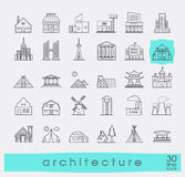 Buildings and architecture icons set. Various styles and building purposes. Buildings for living and work, monumental buildings. Vector illustration. Collection Royalty Free Stock Photography