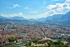 Buildings architecture, Grenoble. Buildings architecture. View from above, from Fort Bastille in Grenoble, France Royalty Free Stock Photo