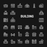 Buildings & Architectures Simple Line Icon Set royalty free stock photos