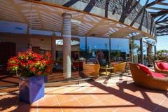 Buildings and area hotel in Playa Blanca, Lanzarote. Playa Blanca, Lanzarote, April 04, 2017: Buildings and area hotel in Playa Blanca, Lanzarote stock images