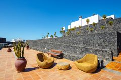 Buildings and area hotel in Playa Blanca, Lanzarote. Playa Blanca, Lanzarote, April 04, 2017: Buildings and area hotel in Playa Blanca, Lanzarote stock photography