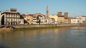 Buildings on the Arno river embankment in Florence. Italy stock video footage
