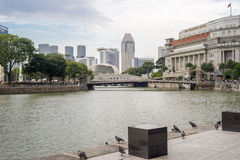 Buildings around Singapore River in Late Afternoon Stock Photography