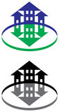 Buildings and arrows Stock Image