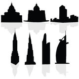 Buildings art black vector silhouette Royalty Free Stock Photography