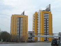 Buildings. Astana, view on residential buildings in old part of the city with some offices on the first floor Stock Images