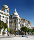 Buildings on the Avenue of the Allies (Avenida dos Aliados) in P. Orto, Portugal. Porto is one of the most popular tourist destinations in Europe Royalty Free Stock Images