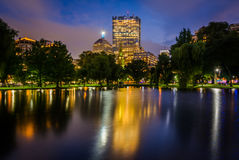 Buildings in Back Bay and the lake at the Public Garden at night Royalty Free Stock Photo