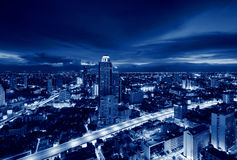 Buildings in Bangkok at night, Skyline, Thailand Stock Photos