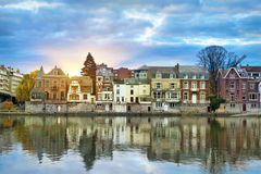 Buildings on the bank of Meuse river in Namur. Old buildings on the bank of Meuse Maas river on sunrise in Namur, Wallonia, Belgium colorful HDR image Royalty Free Stock Image