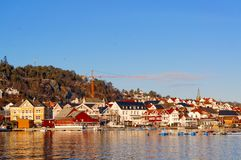 Buildings on the banks of the fjord Stock Photography