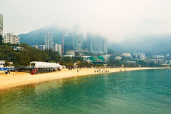 The buildings of beach in fog Stock Image