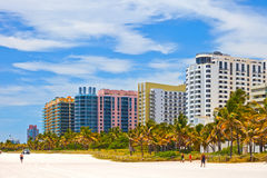 Buildings on the beach in Miami Royalty Free Stock Image