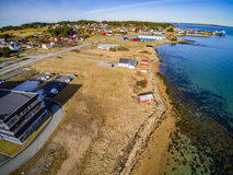 Buildings at the beach in spring, middle Norway Stock Photo