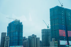 Buildings are being built in big cities site. Stock Images