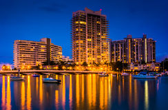 Buildings on Belle Island at night, in Miami Beach, Florida. Stock Photos