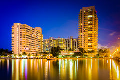 Buildings on Belle Island at night, in Miami Beach, Florida. Royalty Free Stock Photography