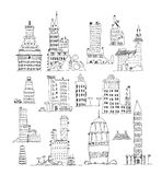 Buildings of big city, set. Sketch collection Royalty Free Stock Image