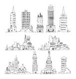 Buildings of big city, set. Sketch collection Stock Photo