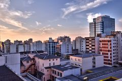 Buildings of a big city. In the twilight Royalty Free Stock Image