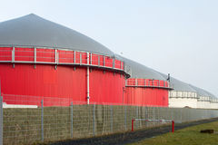 Buildings of a bio gas plant Stock Images