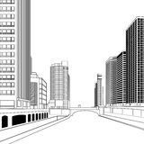 Buildings. Black and white vector high-rise buildings and streets Royalty Free Stock Photo