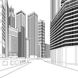Buildings. Black and white vector high-rise buildings and streets Royalty Free Stock Images