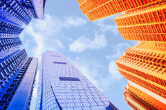 Buildings blocks  with sky background. Royalty Free Stock Photography