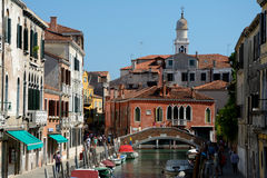 Buildings and boats on canal in Venice, Italy Royalty Free Stock Photo