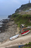Buildings and boats on Cape Cornwall Royalty Free Stock Images