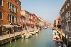 Buildings and boats in Murano Stock Photo