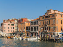 Buildings and Boats in Venice Royalty Free Stock Photography