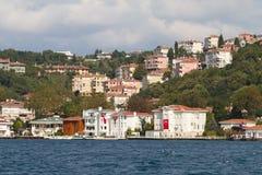 Buildings in Bosphorus Strait Royalty Free Stock Photos