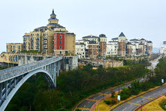 The buildings and bridge. The photo was taken in Grand Canyon scenic spot Shenzhen city Guangdong province, China Stock Photography