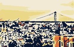 Buildings and the bridge at San Francisco. USA Stock Photo
