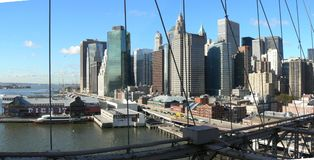 Buildings and bridges from Manhattan Royalty Free Stock Image
