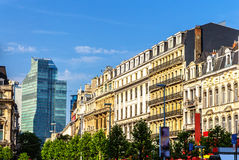 Buildings on Brouckere square in Brussels Royalty Free Stock Image